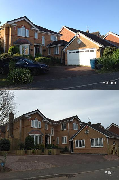 Garage conversion before and after